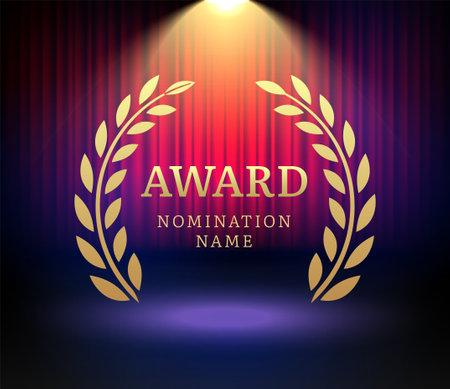 Award laurel vector logo poster. Gold win award icon design emblem nomination 向量圖像