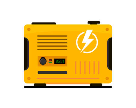 Portable electric power generator. Electric charger diesel portable flat generator icon