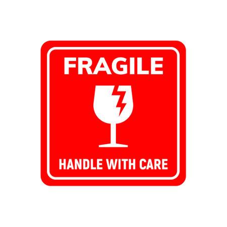 Fragile sticker care handle vector label. Glass fragile alert icon