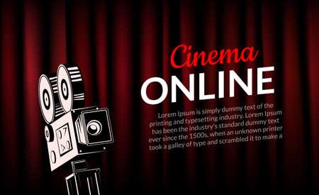 Online cinema poster concept background. Movie film projector old camera flyer digital movie 向量圖像