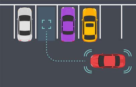 Parking smart car sensor autonomous view. Automobile park assist drive safety