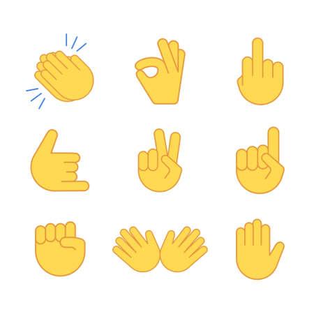 Emoji hand applause emoticon thumb clap icon. Applaud fist goodbye vector symbol Vector Illustratie