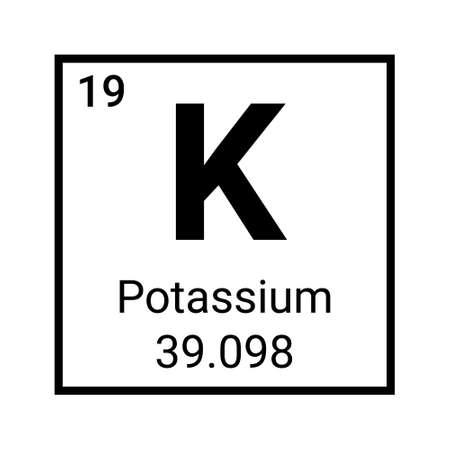 Potassium element periodic table symbol vector icon. Potassium chemistry element symbol Vetores