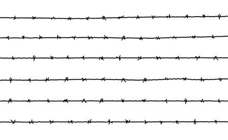 Barbed wire vector fence barbwire border chain. Prison line war barb background metal silhouette Vettoriali