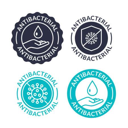 Antibacterial soap antiseptic bacteria clean medical symbol. Anti bacteria vector label design