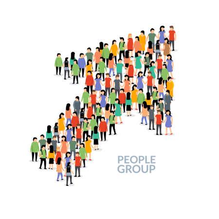 People business arrow grow vector crowd. People group network success corporate arrow concept
