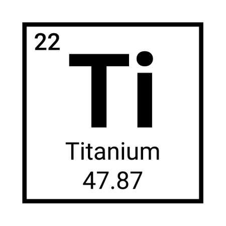 Titanium periodic element icon. Titanium symbol chemistry 向量圖像