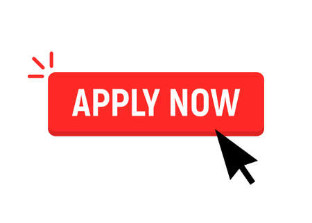 Apply now job submit button icon. Vector apply now click cursor 向量圖像