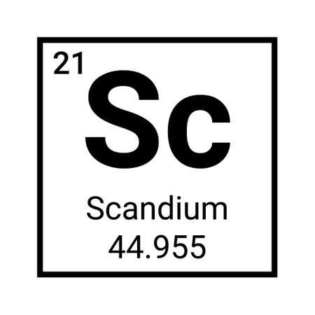 Scandium metal element symbol icon. Periodic table scandium element