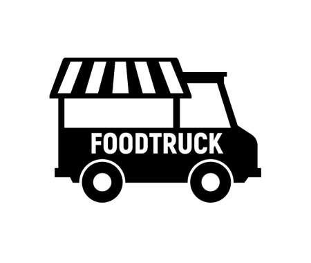 Food truck icon. Vector food truck kitchen street van design icon