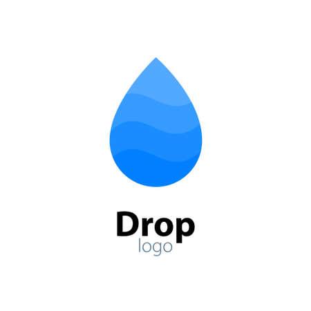 Water drop vector icon logo. Flat water rain liquid icon sign symbol isolated