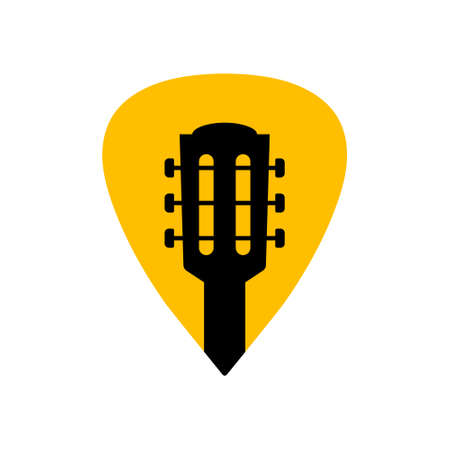 Guitar acoustick pick vector design icon flat logo. Mediator guiatar music symbol headstock 向量圖像