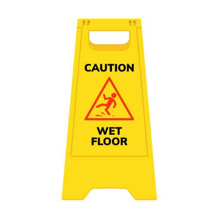 Wet floor sign. Safety yellow slippery floor warning icon vector caution symbol 向量圖像
