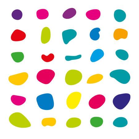 Random blob colorful organic pattern spot shape. Amorphous ink blob geometric round pattern 向量圖像