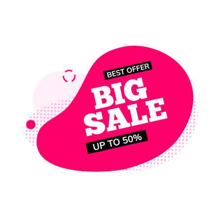 Big sale banner element promo discount shape. Vector design sale promo title background