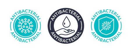 Antibacterial soap antiseptic bacteria clean medical symbol. Anti bacteria vector label design 向量圖像