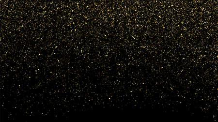 Gold glitter texture on black background. Golden sparkle confetti vector shine luxury gold glitter 向量圖像
