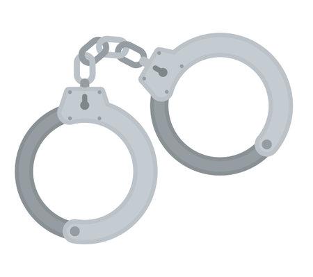 Handcuff vector icon police prison illustration. Handcuffs arrest icon jail cuffs