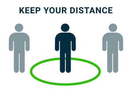 Social distance vector icon, Keep distance people info graphic rule measure coronavirus prevention 向量圖像