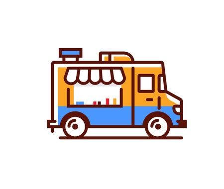Food truck logo icon. Vector foodtruck kitchen street van design icon
