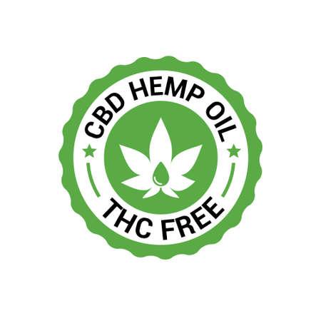 CBD Hemp Oil logo. THC Free medical hemp cannabis oil icon