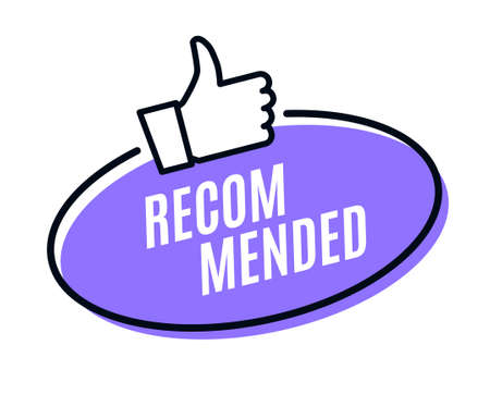 Recommend best advantage icon. Good job ok recommend thumb up sticker 向量圖像