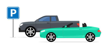Parking car spot lot. Vector car park icon front view cartoon flat icon 向量圖像