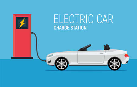 Car electric charge station vector vehicle. Eco charging hybrid electric concept illustration