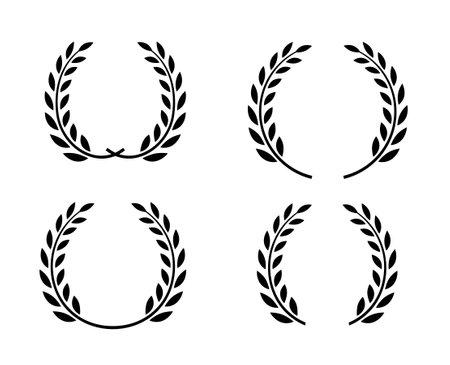 Laurel wreath vector award branch victory icon. Winner laurel wreath vintage leaf emblem
