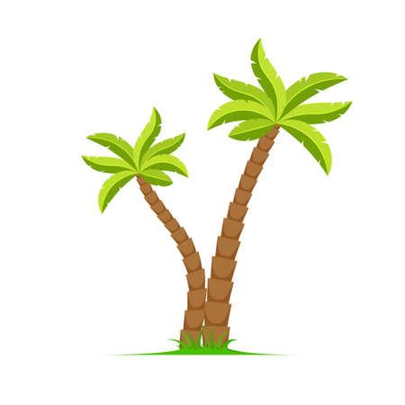 Palm tree vector island coconut cartoon icon. Palmtree island desert isolated tropical icon 向量圖像