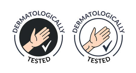 Dermatology hand tested icon. Antibacterial hypoallergenic clean gel test label