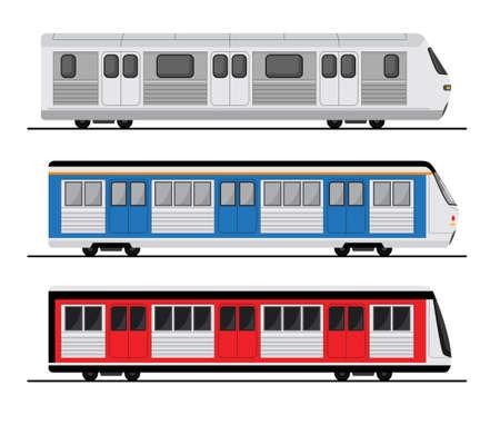 Subway train set illustration, tube station flat train icon.