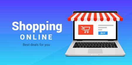Online shop e-commerce store vector laptop. Buy cartoon flat digital online shop