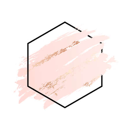 Rose and pink background stroke polygon frame. Vector gold pink brush makeup beauty abstract geometric