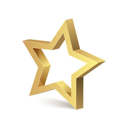 Golden 3d star isolated object medal decoration. Golden star metal vector design icon logo