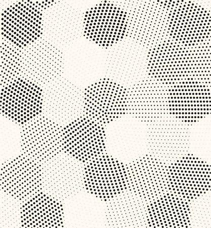 Hexagon geometric pattern vector seamless halftone design. Dot hexagon texture seamless