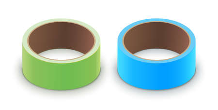 Scotch yellow roll adhesive tape mockup.  3d packing vector scotch icon