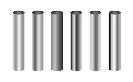 Cylinder metal aluminum pipe chrome bar. Metal pole vector steel aluminium iron pipe