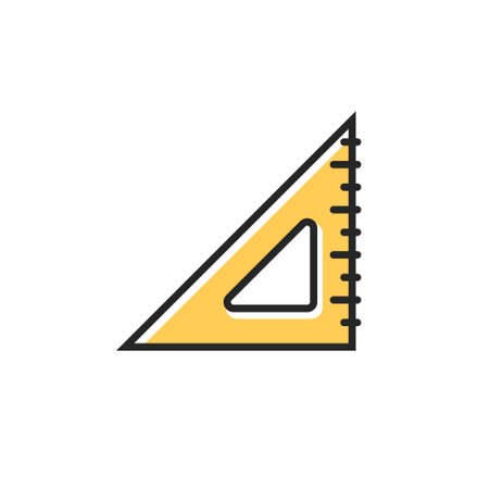Triangle measurement protractor illustration icon. Triangle ruller scale geometry vector tool