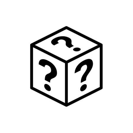 Mystery contest box, lucky prize present surprise secret. Mystery box gift question icon 向量圖像