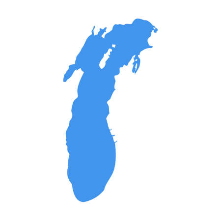 Lake Michigan vector map silhouette illustration. Travel lake michigan symbol 向量圖像