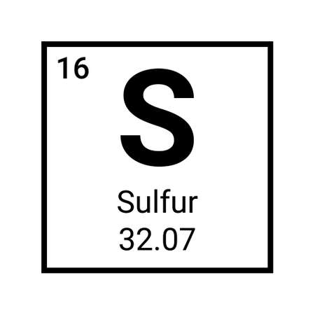 Sulfur atom element periodic table icon. Vector sulfur symbol chemistry 向量圖像