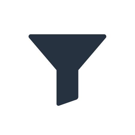 Filter funnel vector icon. Fynnel pictogram bottleneck symbol. Filter shape icon