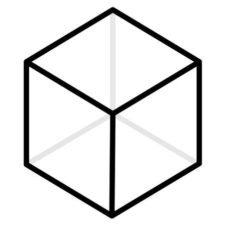 AR reality symbol vector icon. Virtual augmented reality cube screen 3d