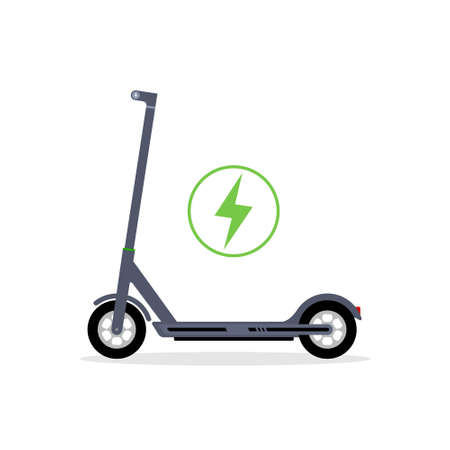 Electric scooter vector icon . Bicycle electric scooter silhouette charge design