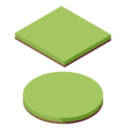 Isometric grass land texture icon. Field landscape garden green vector
