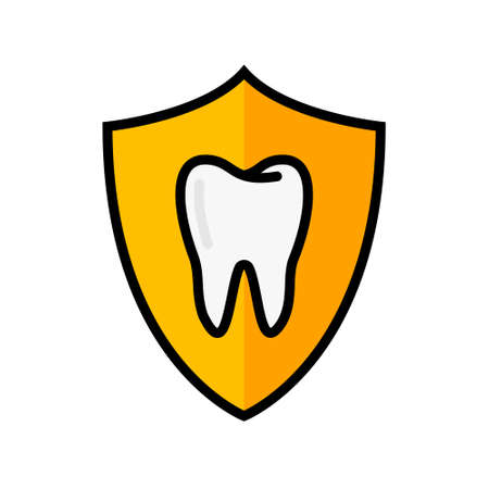 Tooth shield  icon. Dental insurance flat pictogram vector icon