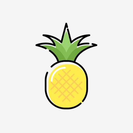Cartoon pineapple vector cute silhouette exotic simple icon. Pineapple illustration flat fruit