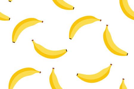 Banana seamless cartoon pattern background, vector fruit seamless yellow banana bunch illustration