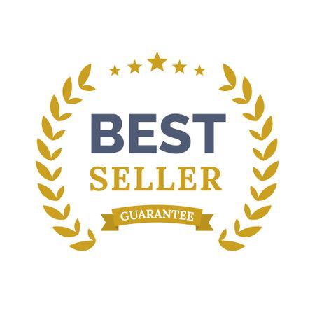 Best seller ceremony award laurel winner. Best seller wreath gold symbol 向量圖像